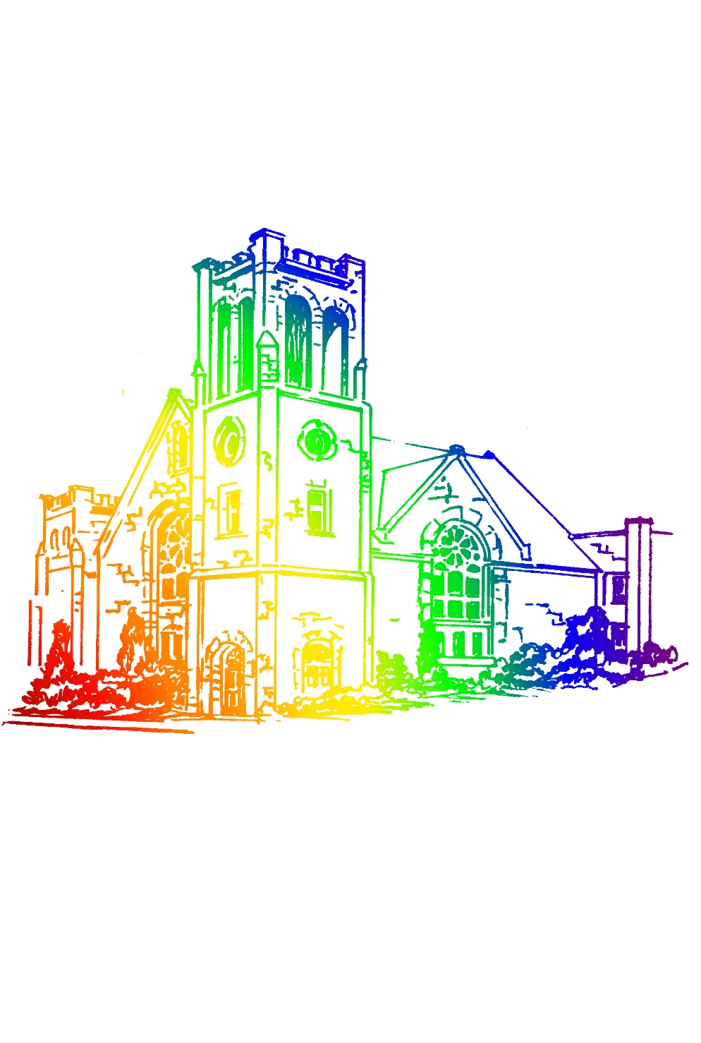 colored drawing of church